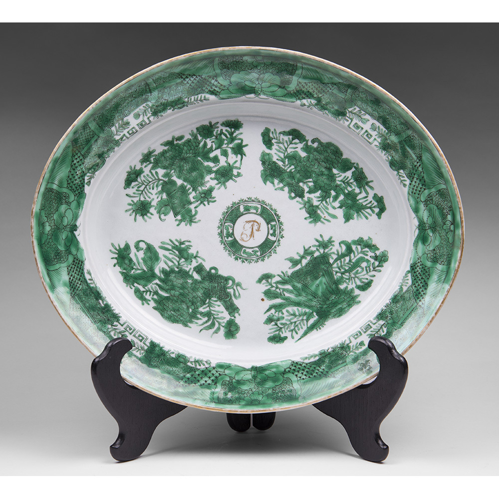 Chinese Export Green Fitzhugh Oval Platter, Monogrammed
