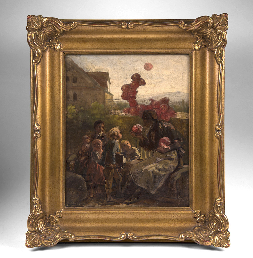 Contemporary German Oil On Board Of Children With Balloon Man