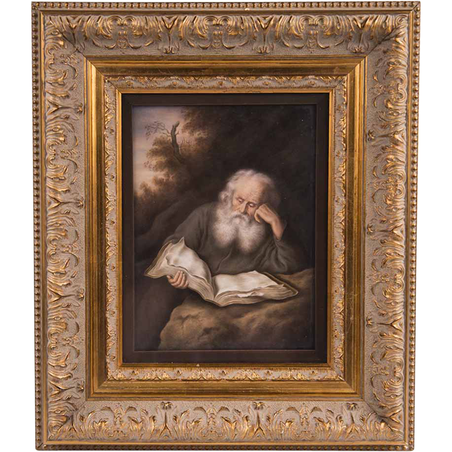 19th C. Berlin KPM Porcelain Plaque, The Hermit