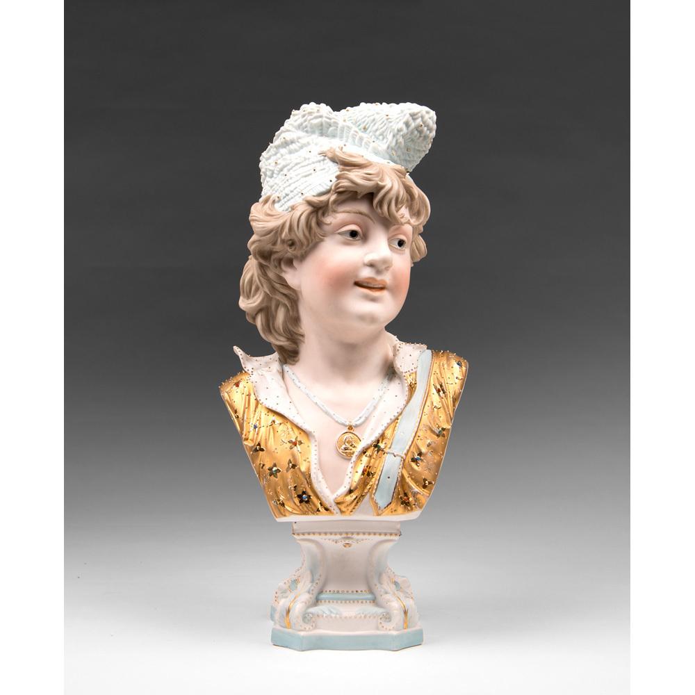 19th C. German Enameled Bisque Bust On Pedestal