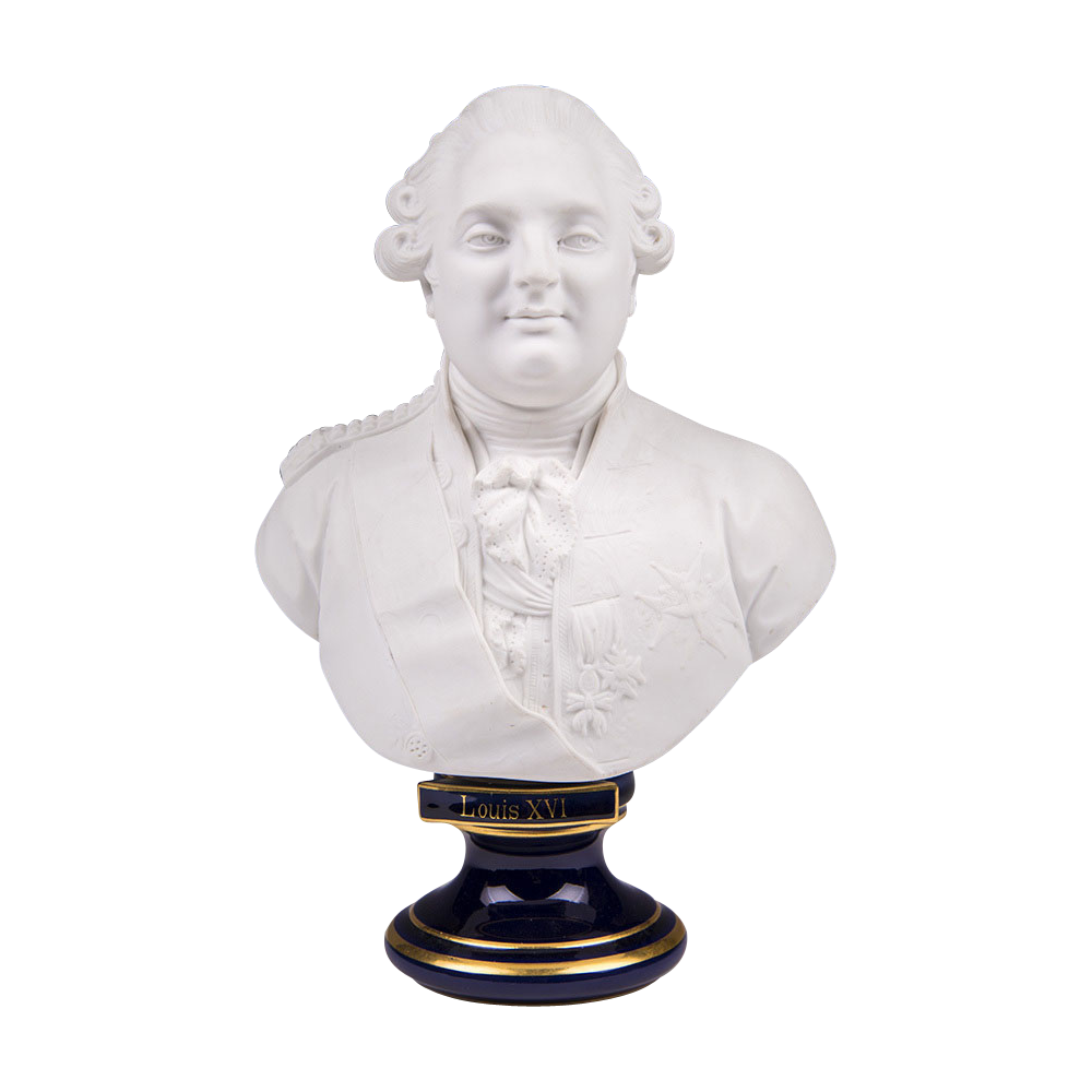 Late 19th C. Sevres Biscuit Bust Of Louis XVI On Cobalt Pedestal