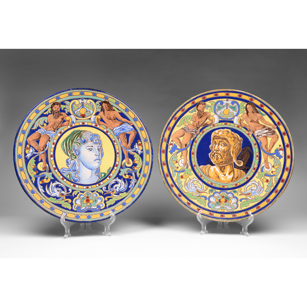 Pair of Early 20th C. Italian Majolica Wall Chargers