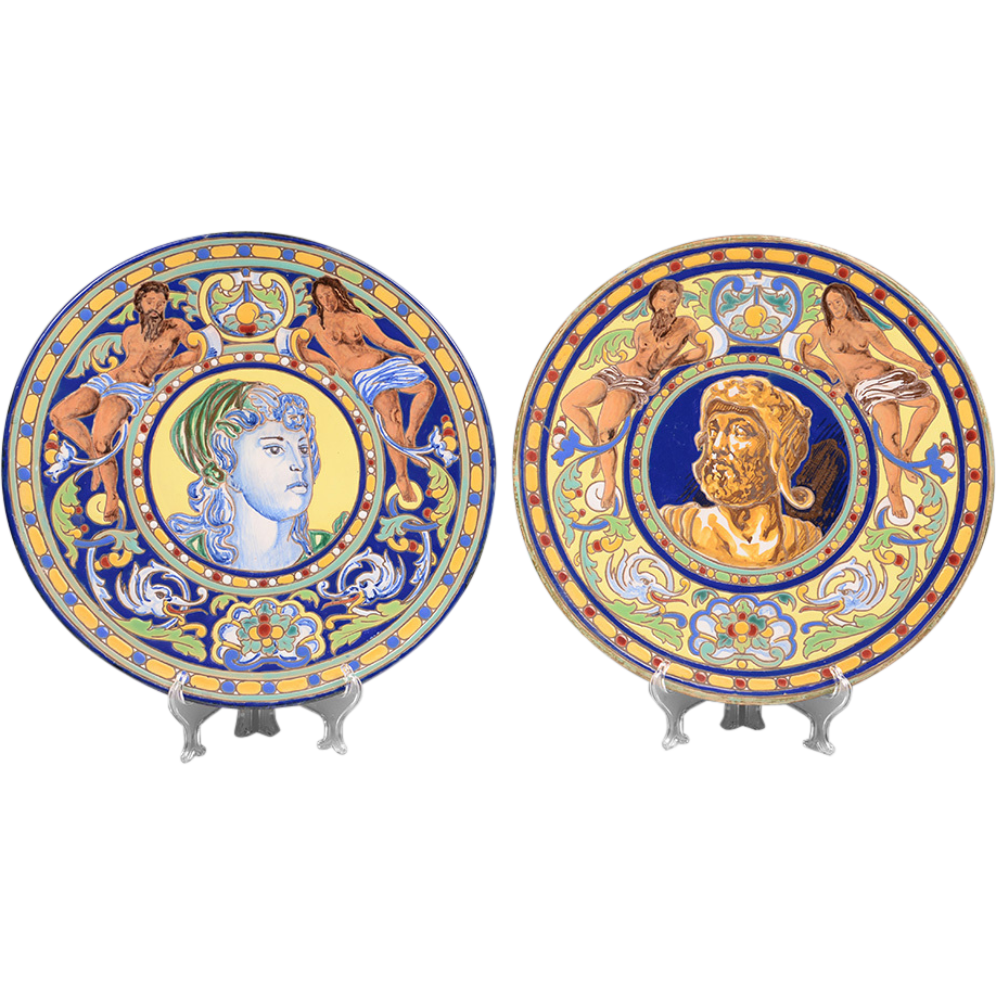 Pair of Early 20th C. Italian Faenza Maiolica Wall Chargers
