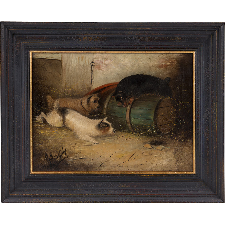 19th C. Oil On Canvas, George Armfield, Terriers