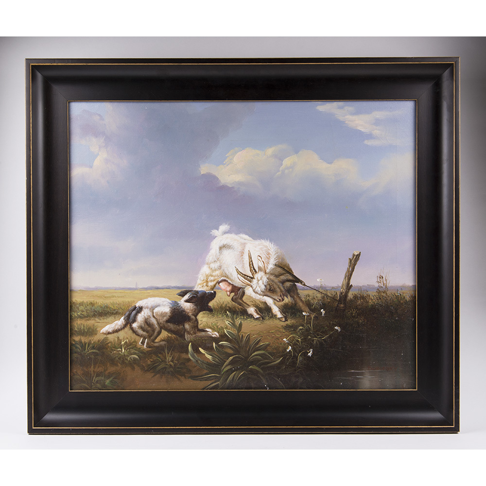 Mid 20th C. Oil Painting Of Goat And Dog By Borofsky