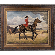 Late 19th C. English Equestrian Hunt Scene, Oil On Board