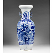 Qing Dynasty 19th C. Celadon Ground Blue Underglaze Chinese Vase