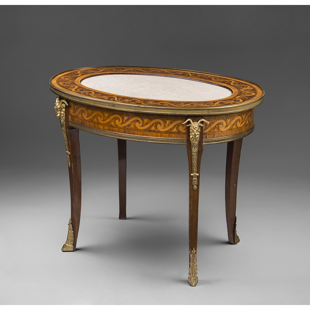 French Regence Style Inlaid Oval Coffee Table With Marble Top