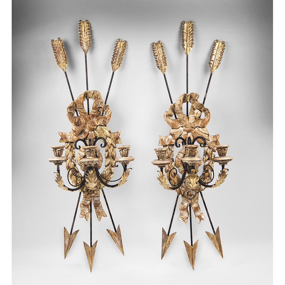 Late 19th C. Italian Carved Wood And Iron Sconces