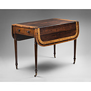 English Regency Calamander Cross Banded Pembroke Drop Leaf Table, 1830