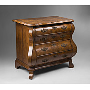 Early 19th C. Dutch Bombay Burled Walnut Commode, Baroque Style