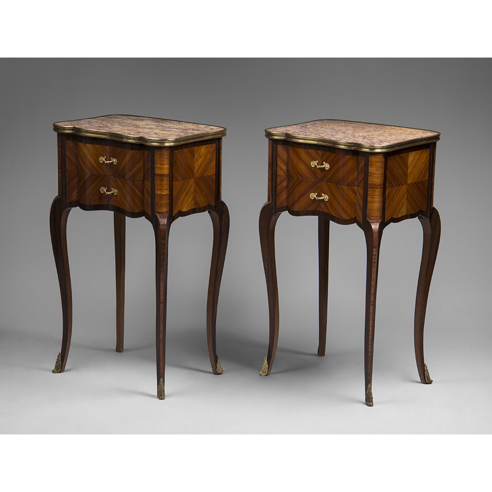 Pair Of Louis XV Style Marquetry Commodes Or Nightstands Mounted In Bronze