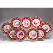 Set of 9 Late 19th C. Royal Doulton Cabinet Plates