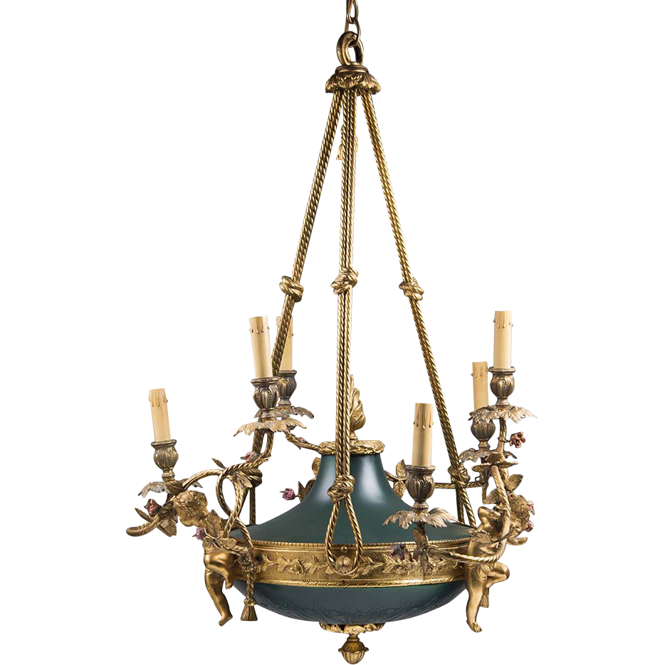 French Empire Style Bronze Patinated Chandelier