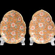 Pair of Meiji Period Satsuma Chrysanthemum Leaf Dishes