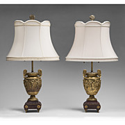 Pair Louis XV Barbedienne Bronze Dore Classical Lamps