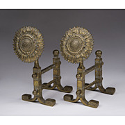 Pair of Aesthetic Movement Sunflower Brass Tool Rests