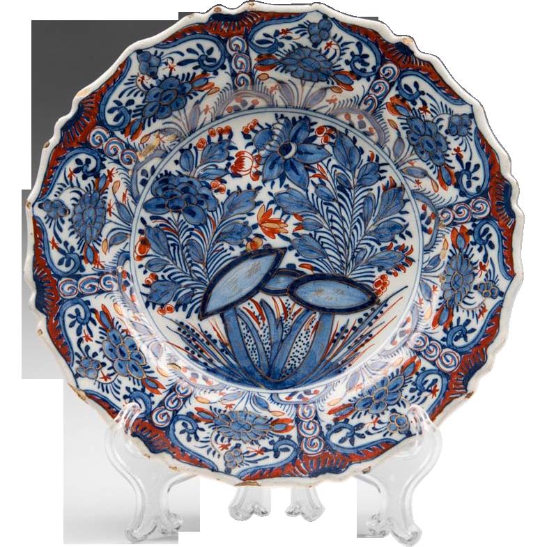 18th C. Delft Tin Glazed Polychrome Plate, Oriental Style