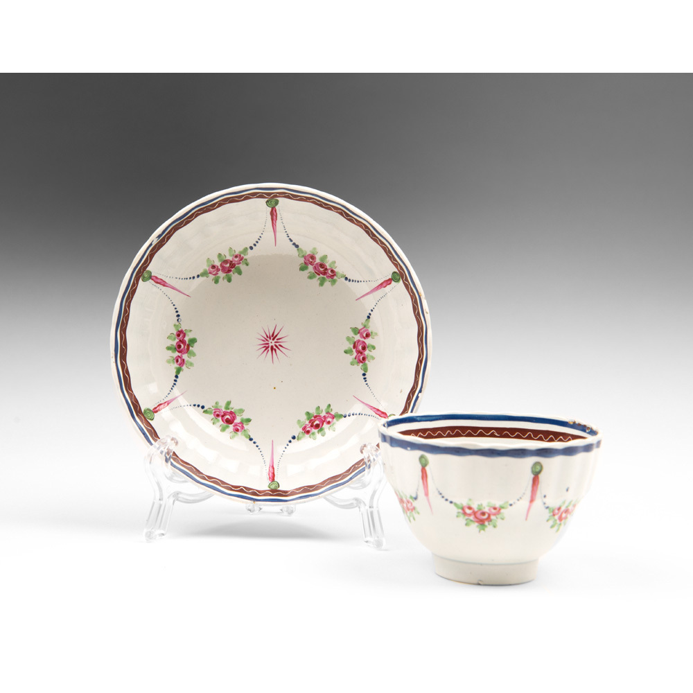 Late 18th C. Staffordshire Tea Bowl And Saucer, Handpainted