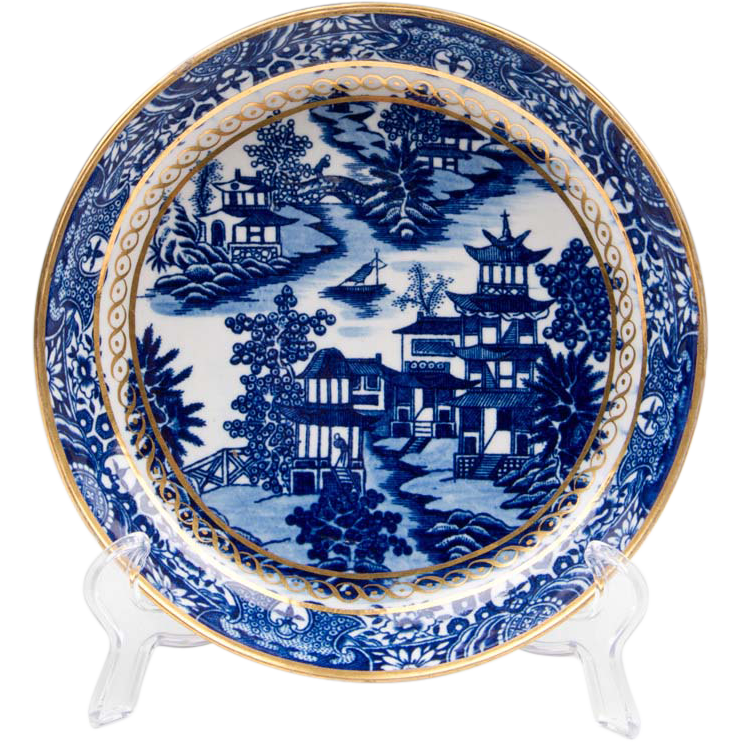 First Period Dr. Wall Worcester Cake Plate, Willow Pattern