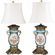 Pair of Sevres Style Vieux Paris Bronze Mounted Lamps