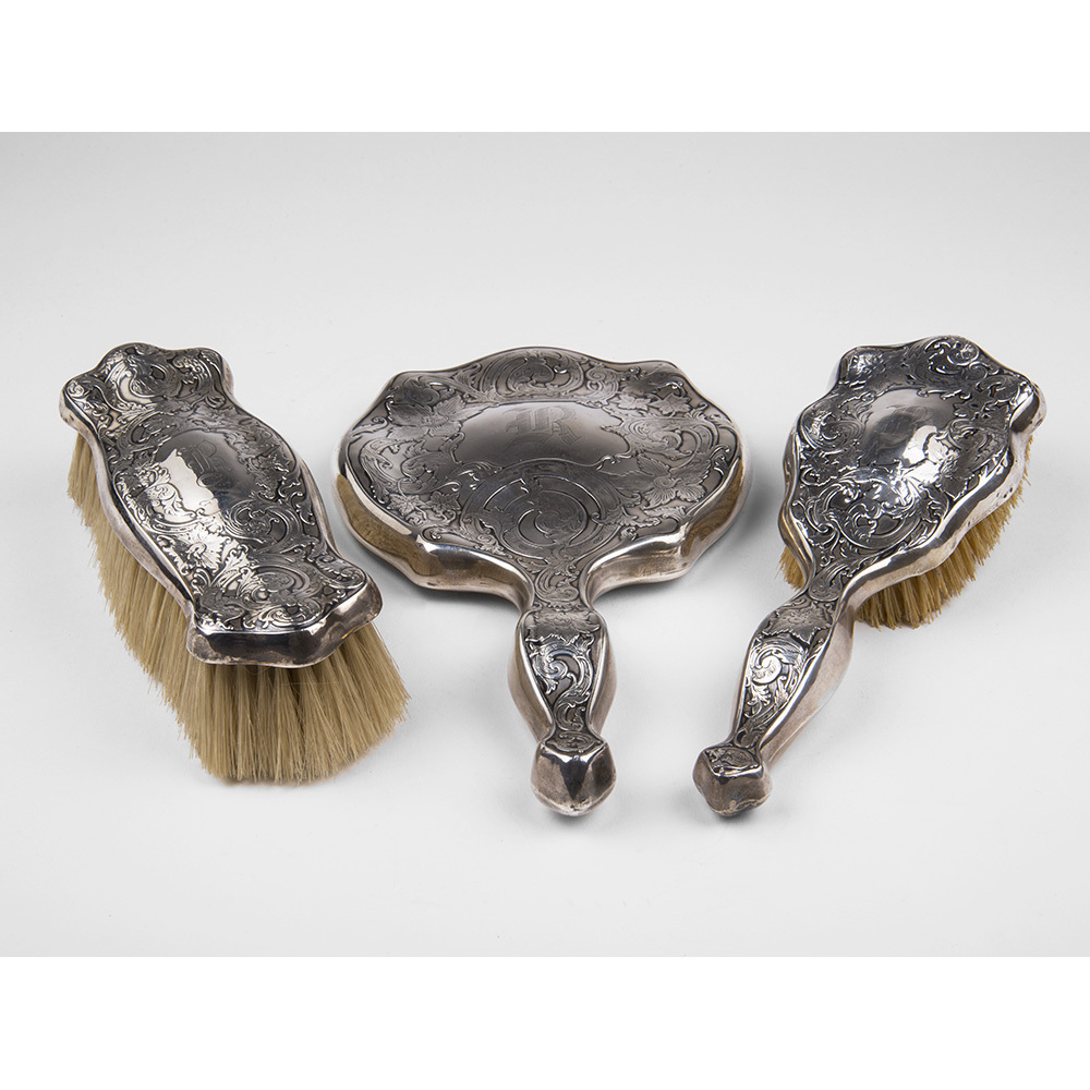 Webster Company Sterling Silver 3-Piece Brush & Mirror Set