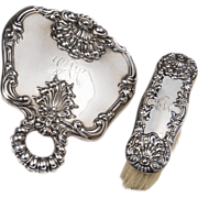 Dominick & Haff Sterling Silver Mirror & Clothes Brush