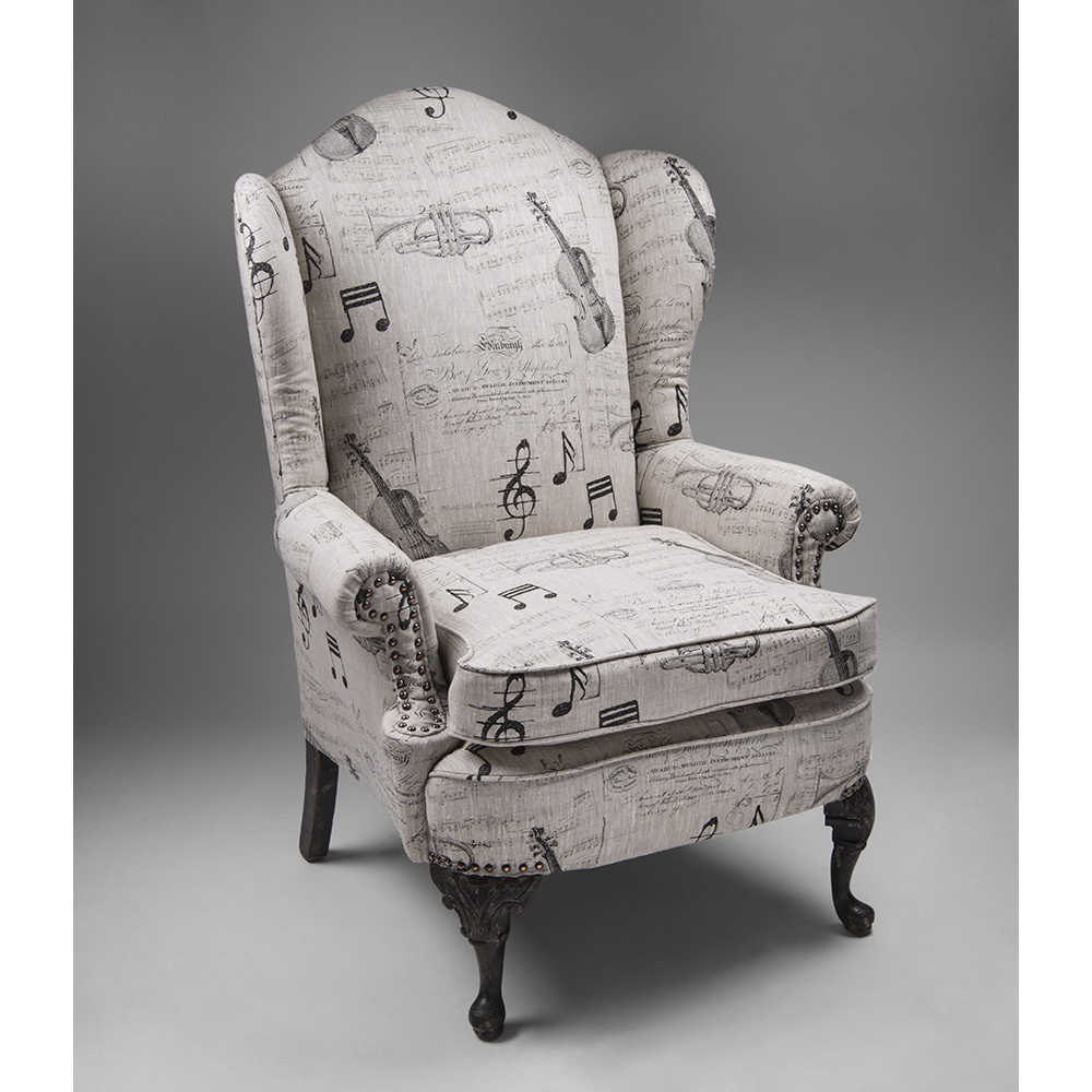 Late 19th C. Georgian Style Wing Chair, Script Upholstery : Piau0027s Antique  Gallery | Ruby Lane
