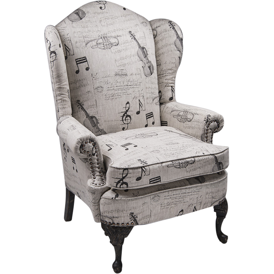 Late 19th C. Georgian Style Wing Chair, Script Upholstery