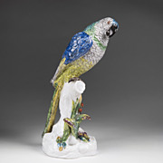 Late 19th C. German Wallendorf Porcelain Figure of a Parrot