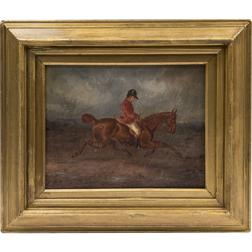 19th C. English Oil Painting On Canvas Of Rider And Horse
