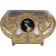 Baccarat Bowl With Ormolu Frame And Limoges Enamel Medallion