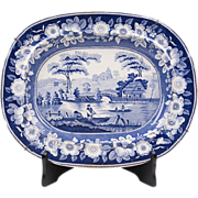 1840 Middlesbro Pottery Wild Rose Blue & White Transferware Platter