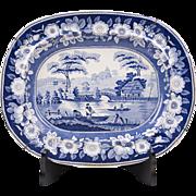 1840 Middlesbro Pottery Wild Rose Blue & White Transferware Platter