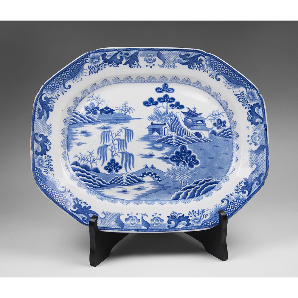 Masons Patent Ironstone Blue & White Platter, Turners Willow