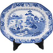 Masons Patent Ironstone Blue & White Platter, Turners Willow