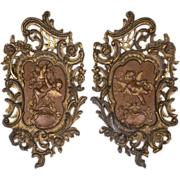 Pair of 19th C. French Rococo Bronze Cast Plaques