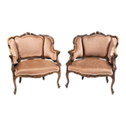 Pair of Carved Walnut Louis XV Style Bergeres or Chairs