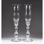 Pair of Baccarat Molded Candlesticks With Hurricane Crystal Shades