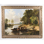 19th C. Oil On Canvas Of Rural English Landscape