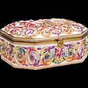 German Porcelain Capodimonte Royal Naples Style Jewelry Box