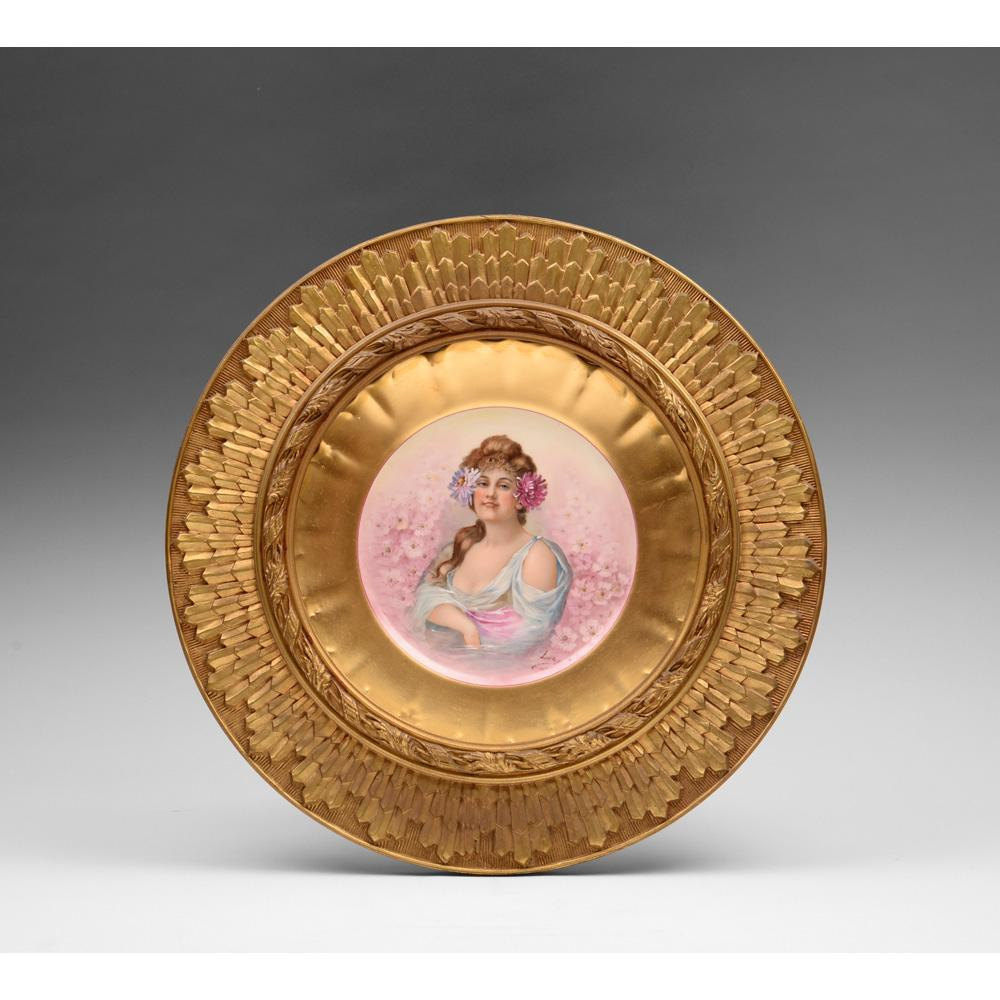 French Porcelain M R Limoges Plate In Sunburst Giltwood Frame