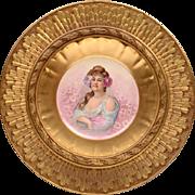 French Porcelain M R Limoges Plate In Sunburst Giltwood Frame