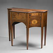 George III Inlaid Sheraton Lowboy or Dressing Table