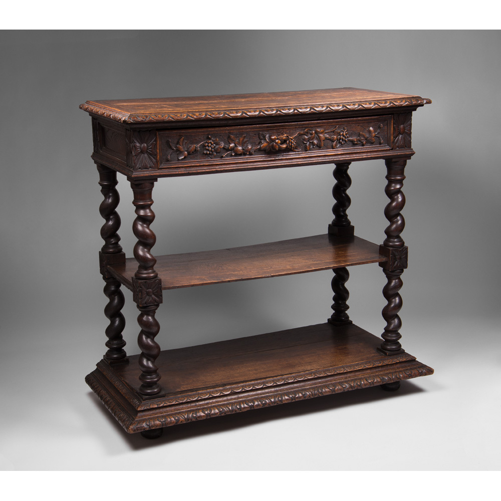 Late 19th C. French Oak Barley Twist Tiered Dessert Buffet