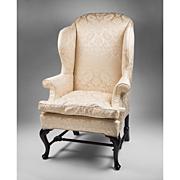 18th C. Georgian Queen Anne Mahogany Wing Chair