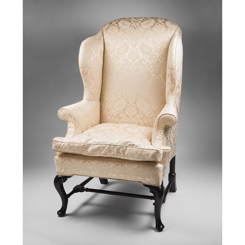18th C Georgian Queen Anne Mahogany Wing Chair from