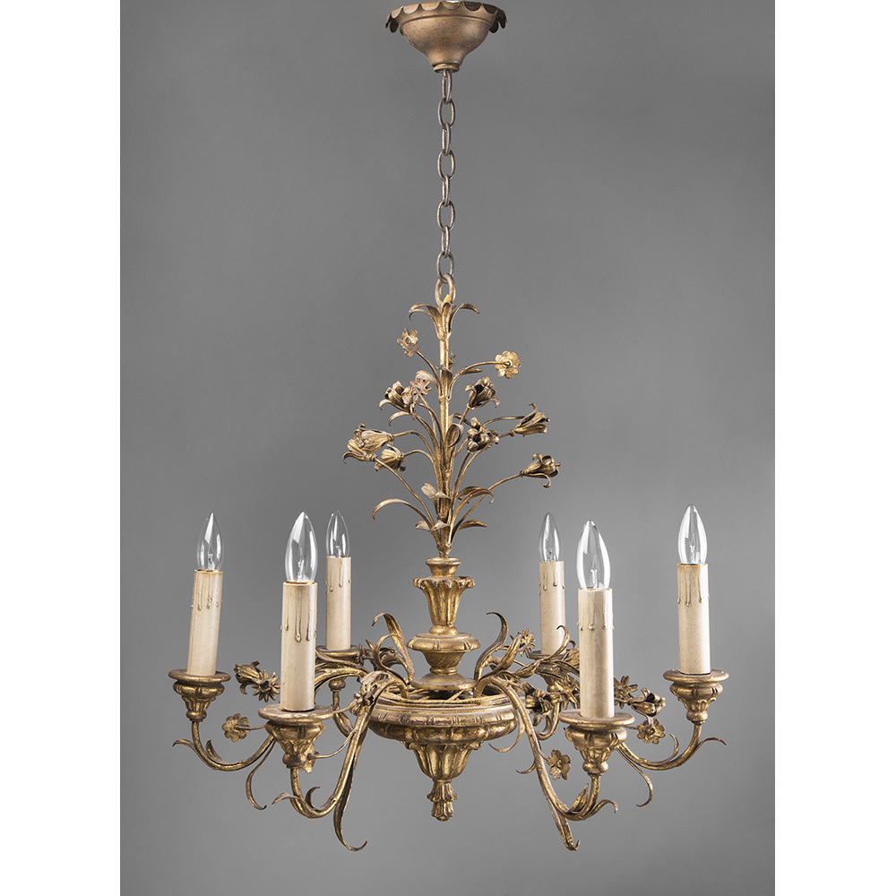 Early 20th C. Giltwood and Wrought Iron Six Light Chandelier