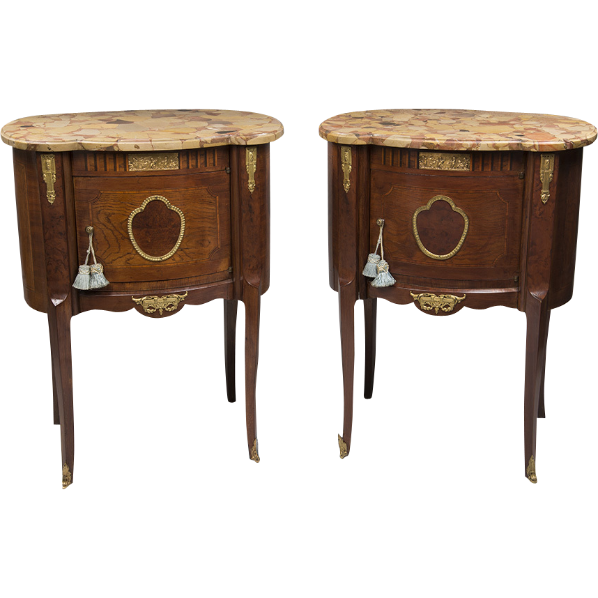 Pair of Louis XV Style Kidney Shaped Commodes Or Nightstands With Marble Tops