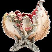 19th C. French Barbotine Majolica Sea Form Bowl